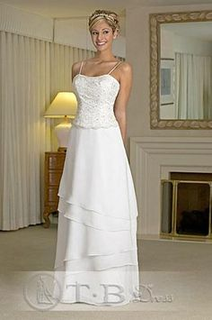 A line Princess Spaghetti Straps Floor  Length  wedding dress for brides 2010 style(WDA0158