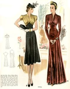 Late 1930s long and *new* short style appropriate for cocktail time.