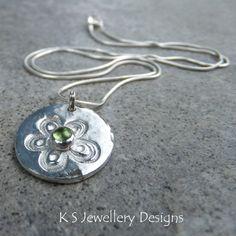 Peridot Fine Silver Pendant Necklace  GREEN by KSJewelleryDesigns, $55.00