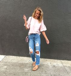San Francisco Outfit Roundup - Jaclyn De Leon Style- casual street style look + blush pink statement sleeve + distressed boyfriend jeans + denim street style + fall outfit inspiration