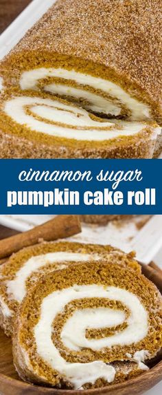 Cinnamon Sugar Pumpkin Roll {A Fun Rolled Up Cake for Fall Baking} pumpkin/cake roll/cream cheese Rolled and sprinkled this Cinnamon Sugar Pumpkin Roll is the perfect fall baking recipe to have in your arsenal this season!