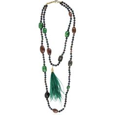 Rosantica Woman Bosco Gold-tone, Bead, Stone And Feather Necklace Green Size Rosantica
