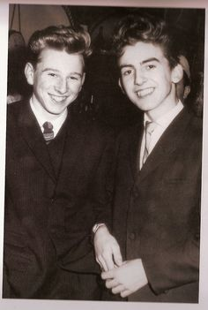 """thebeatlesordie: """"beatlefour: """" George Harrison, aged fifteen, at his first dance night.: The boy with him is a school friend of his from Liverpool named Arthur Kelly. Arthur used to be. Foto Beatles, Les Beatles, Beatles Photos, Hello Beatles, George Harrison, Boy George, Paul Mccartney, John Lennon, First Class"""