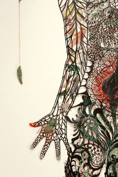 "Kako Ueda, ""Reciprocal Pain"" (detail) hand cut paper with acrylic and water color"