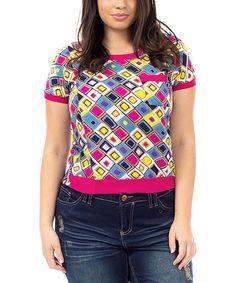 Pink & Blue Geometric Pocket Short-Sleeve Top - Plus by Apparel Deals #zulily #zulilyfinds