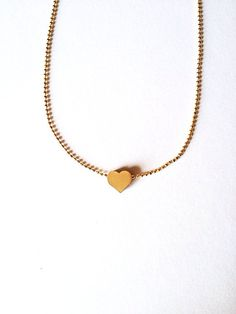 Pretty Little Golden Heart Necklace :) Love Factory New York By Rie Miyamoto on Etsy, $15.00