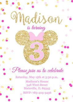 Minnie Mouse Pink Gold Glitter Birthday Party Invitation,, Digital or Printed Fiesta Mickey Mouse, Minnie Mouse Pink, Minnie Mouse Party, Glitter Birthday Parties, 3rd Birthday Parties, Birthday Party Invitations, Minnie Mouse Birthday Theme, Digital Invitations, Gold Glitter