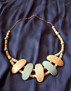 Handmade necklace from wood.