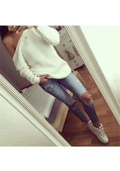 3c460680a31cd6 Weiße Schulterfreie Casual Oversize Pullover Sweater Oberteile Sexy Damen  Mode Oversize Damen, Schulterfreies Oberteil,