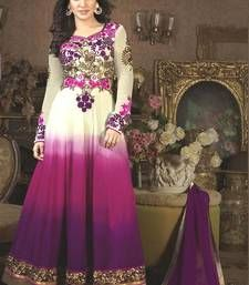 Buy Purple georgette embroidered semi stitiched salwar with dupatta anarkali-salwar-kameez online