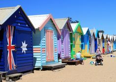 Another picture of these colourful beach huts of Brighton, near Melbourne, Australia. Great patriotism shown by the owners of the first hut. Australia Day, Victoria Australia, Australia Travel, Melbourne Australia, Brighton Beach Melbourne, Melbourne Victoria, Beach Shack, Beach Huts, Australian Beach