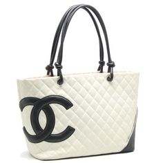 2c8ed4413c7c Authentic CHANEL Cambon Large Tote Bag Coco Mark White Black /54999