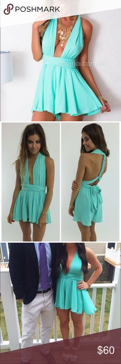 Mint Multi-Way Romper/Playsuit Peppermayo mint playsuit. Only worn once and in great condition! Perfect for date functions, formals, proms, etc. Love love LOVE this, just will never really have a need for it again unfortunately. AU size 6 (US SIZE 2). SOLD OUT ONLINE!! peppermayo Dresses