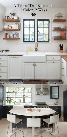 Vintage kitchenware meets modern elegance in these two kitchens featuring black cabinetry, white subway tiles, and a farmhouse sink. We're showing you how to take one color and use in two different ways to create equally stunning results. // Featured Design: Ella #MyCambria