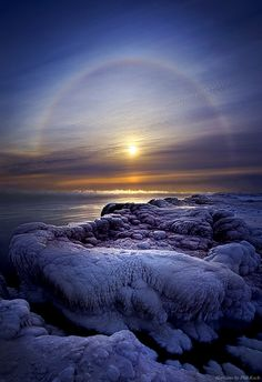 """""""Somewhere Over the Halo"""" HDR of Wisconsin Polar Vortex shot with Canon and Canon lens. Minus 25 degrees while shooting this at the edge of Lake Michigan. Wisconsin Horizons by Phil Koch. Lives in Milwaukee, Wisconsin, USA. Beautiful Sunset, Beautiful World, Beautiful Places, Beautiful Scenery, Amazing Photography, Landscape Photography, Nature Photography, Lac Michigan, Michigan Usa"""