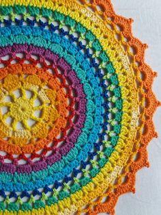 Wandbehang Crocheted mandala doily , handmade , rainbow bright colors mandala , home decoration Motif Mandala Crochet, Crochet Motifs, Crochet Doilies, Crochet Flowers, Crochet Stitches, Knit Crochet, Crochet Patterns, Mandala Blanket, Doily Patterns
