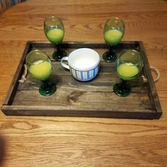 wooden serving tray rope handles drinks by PalletiumWoodWorks
