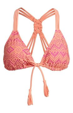 Summer is coming! Want this pink and orange crochet #bikini top.