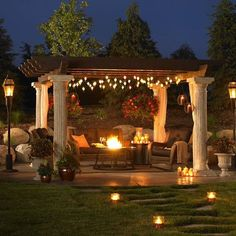 Create your own backyard escape with a pergola! Decorate with candles, lanterns, hanging lights and a firepit for the ultimate spot to relax after a long day!   Would you love a place like this at your Orlando Homes?