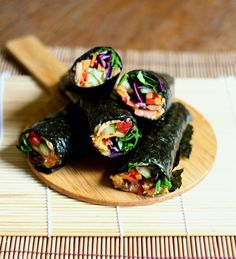 Grain-free nori rolls with roasted carrot hummus   to her core
