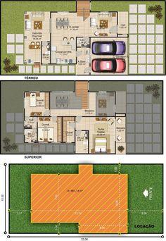 Projetar Casas | Planta de lindo sobrado com 3 suítes, 2 mezaninos e varanda gourmet – Cód 33