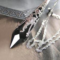 Black Crystal Necklace Sterling Silver Jet Black by DorotaJewelry, $39.00