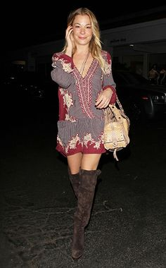 LeAnn Rimes heading to dinner with friends at the Beverly Glen on July 31, 2015 in Los Angeles, CA., wearing a Free People dress and Chloé Dark Brown Suede Over-the-Knee Boots http://api.shopstyle.com/action/apiVisitRetailer?id=479670920&pid=uid7729-3100527-84. #leannrimes #style #celebstyle