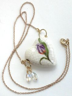 Vintage Lovely Cute Ceramic Floral Heart Crackle Purple Green Hanging Crystal Charms Dainty Summer Spring Gold Tone Jewelry Necklace by DreamAddict on Etsy
