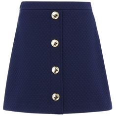 Love Moschino Mini Skirt ($96) ❤ liked on Polyvore featuring skirts, mini skirts, bottoms, saias, dark blue, blue jersey, short skirts, jersey skirt, zipper skirt and jacquard skirts