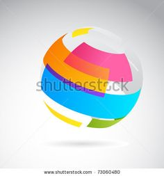 Abstract globe icon made from color ribbons by Marish, via Shutterstock