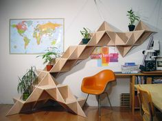 More triangle shelving...