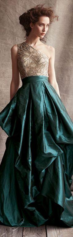 Naeem Khan One-Shoulder Beaded-Bodice Ball Gown