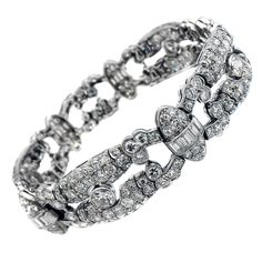 1930s Art Deco Diamond Platinum Bracelet | From a unique collection of vintage more bracelets at https://www.1stdibs.com/jewelry/bracelets/more-bracelets/