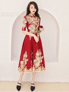 A-Line Chinese style Cheongsam Custom Long Red Wedding Dresses Wedding Dress Brands, Wedding Dresses For Sale, Bridal Wedding Dresses, Chinese Clothing, Cheongsam, Stunning Dresses, Chinese Style, Traditional Outfits, Autumn Fashion