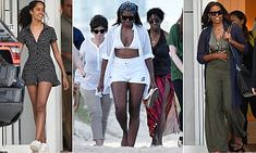 The mother and daughter were spotted walking off the beach on Saturday before grabbing dinner at a trendy Miami steakhouse.