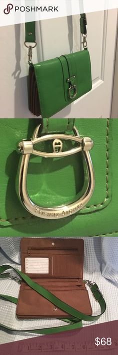 Etienne Aigner sumptuous crossbody wallet Gently used. In great shape. Soft green leather. Etienne Aigner Bags Wallets