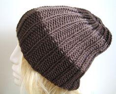 Mützen - Mütze Beanie schoko & taupe Frauen & Männer - ein Designerstück von Annett-NettiStrick bei DaWanda