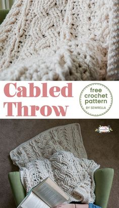 Crochet Square Pattern This cabled throw is an easy pattern with a 4 row repeat! Click this pin to find even more pretty blanket patterns! Manta Crochet, Diy Crochet, Crochet Crafts, Crochet Projects, Diy Crafts, Crochet Tutorials, Crochet Hooks, Granny Square Crochet Pattern, Crochet Stitches Patterns