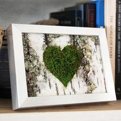 Moss Heart & Birch Bark Rustic Framed Art - Zero Care, Real and Preserved. from ArtisanMoss on Etsy. Birch Bark Crafts, Wood Crafts, Diy And Crafts, Birch Bark Decor, Moss Wall Art, Moss Art, Rustic Frames, Diy Art Projects, Deco Floral