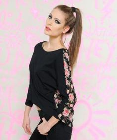 FLORAL LACE BACK TOP - Betsey Johnson