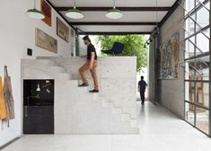 São Paulo artist's studio where rooms are housed within stark concrete boxes.