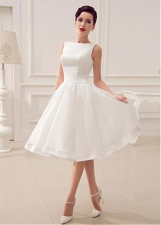 Elegant Organza Satin Bateau Neckline Natural Waistline A Line Wedding Dress With Handmade Bowknot