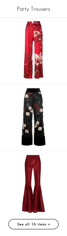 """""""Party Trousers"""" by hernamewaslily ❤ liked on Polyvore featuring pants, trousers, red, high waisted floral pants, high-waisted pants, highwaist pants, floral pants, silk trousers, bottoms and black"""