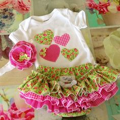 Ruffled Nappy Diaper Cover Ruffles Onesie Baby girl headband pink and green
