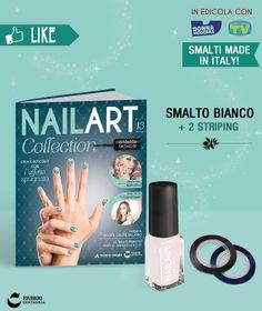 #NailArt #Collection: #smalto bianco e 2 Striping