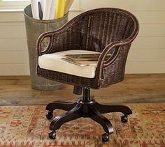 Wingate Rattan Swivel Desk Chair #potterybarn