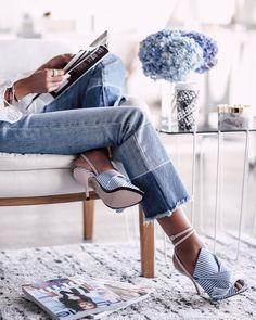 Striped heels.