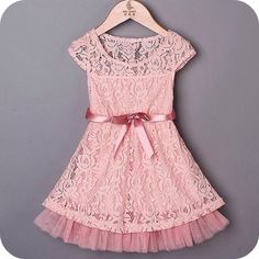 This lace pink dress is absolutely beautiful for all those wonderful occasions. Birthdays, Easter, Spring, Summer, Photo Shoots! Love this dress for Easter Girl Dresses, Birthday Girl Dress Ideas and