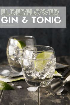 This light and refreshing Elderflower Gin and Tonic cocktail is perfect for summer sipping on the patio. A fun twist on a traditional gin and tonic! #cocktails #ginandtonic #elderflowerliqueur