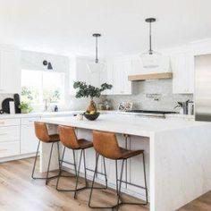 Slope Leather Bar & Counter Stools - Crissie Alone Home Classic Kitchen, Old Kitchen, Rustic Kitchen, Copper Kitchen, Ikea Kitchen, Vintage Kitchen, Modern Farmhouse Kitchens, Cool Kitchens, Small Kitchens